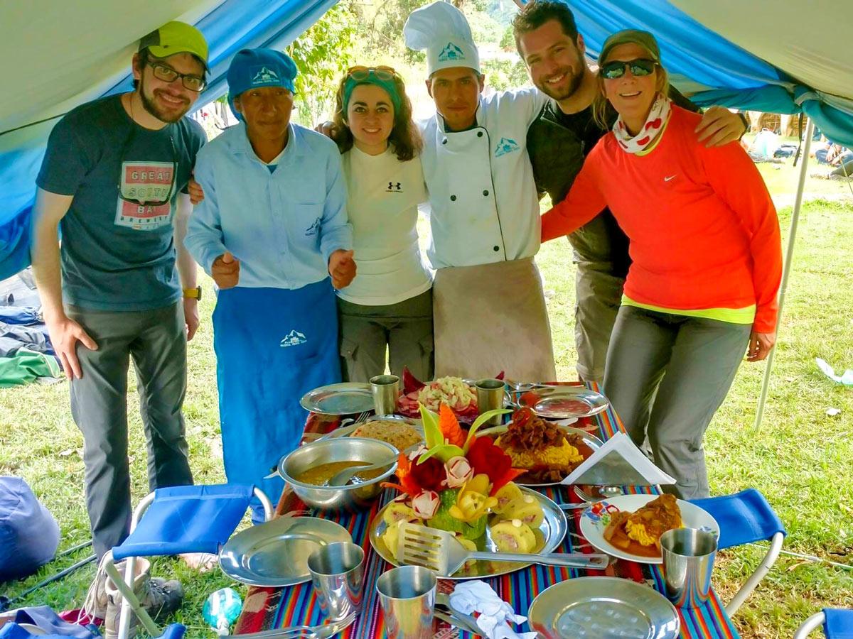 Lunch time on nca Trail to Machu Picchu near Cusco Peru