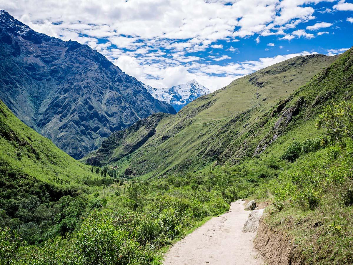 Beautiful valley views on Inca Trail to Machu Picchu near Cusco Peru