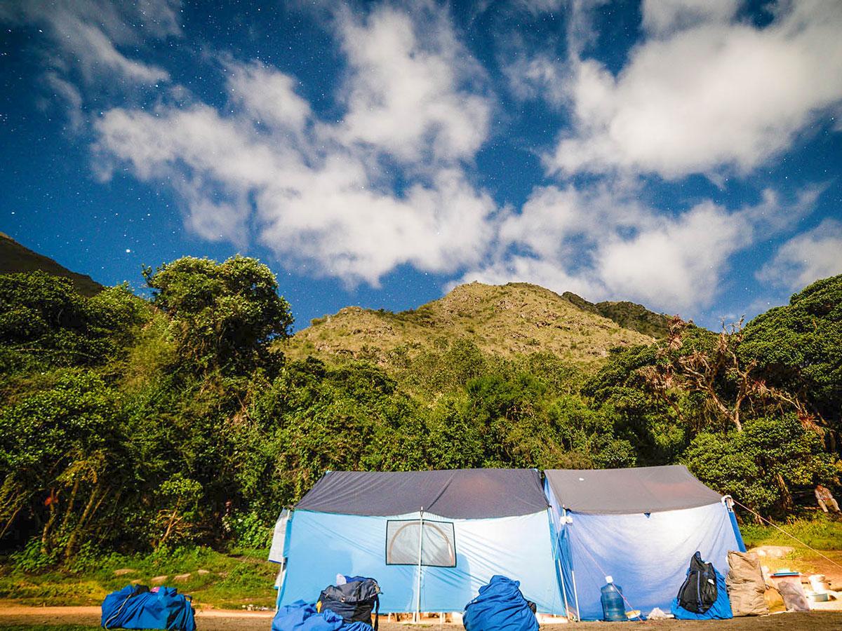 Tent set for lunch on Inca Trail to Machu Picchu near Cusco Peru