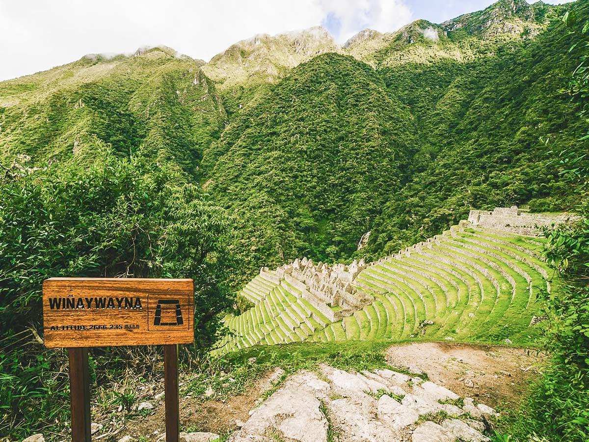 Winay Wayna archeological site on Inca Trail to Machu Picchu near Cusco Peru
