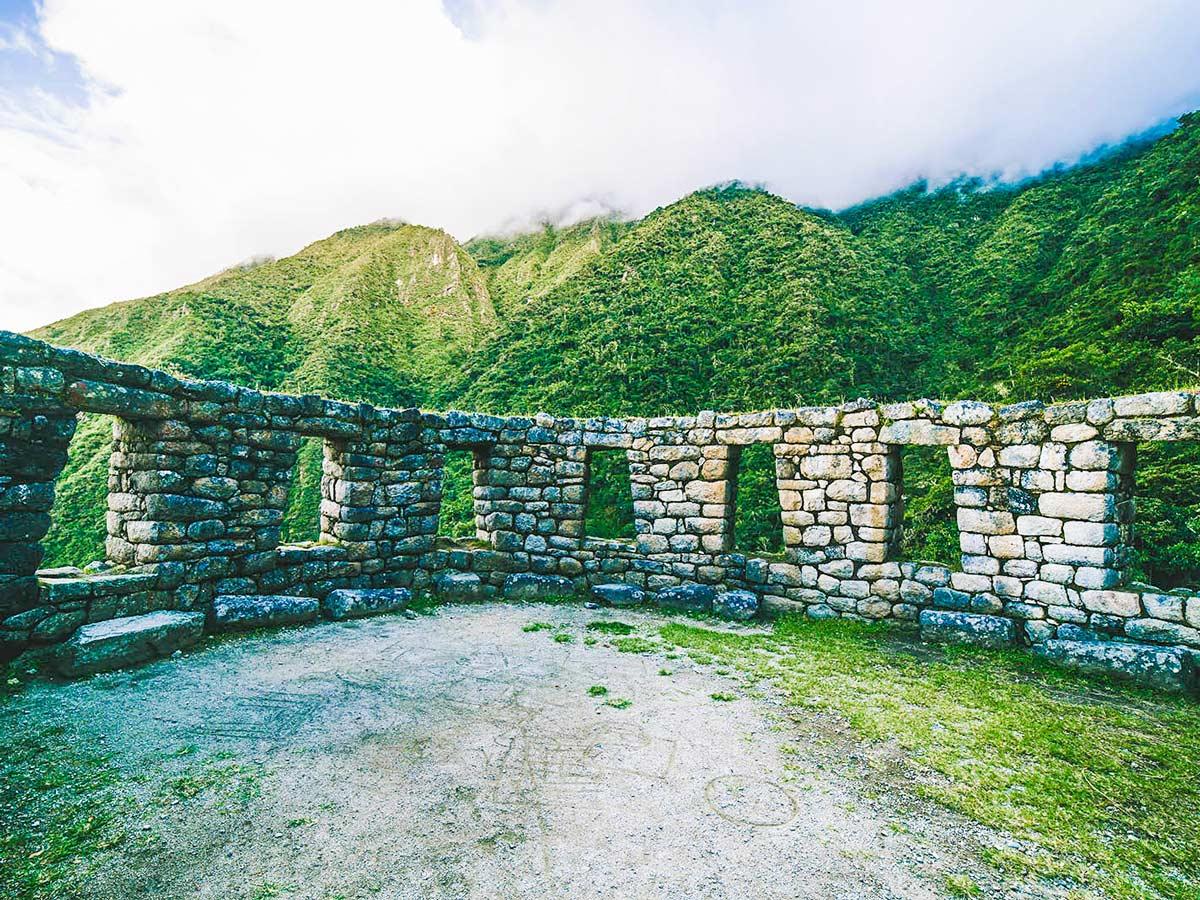 Incan ruins on Inca Trail to Machu Picchu near Cusco Peru
