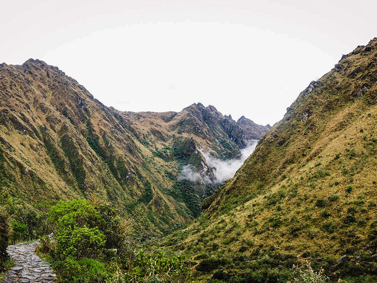 Views near Dead Womans Pass on Inca Trail to Machu Picchu near Cusco Peru