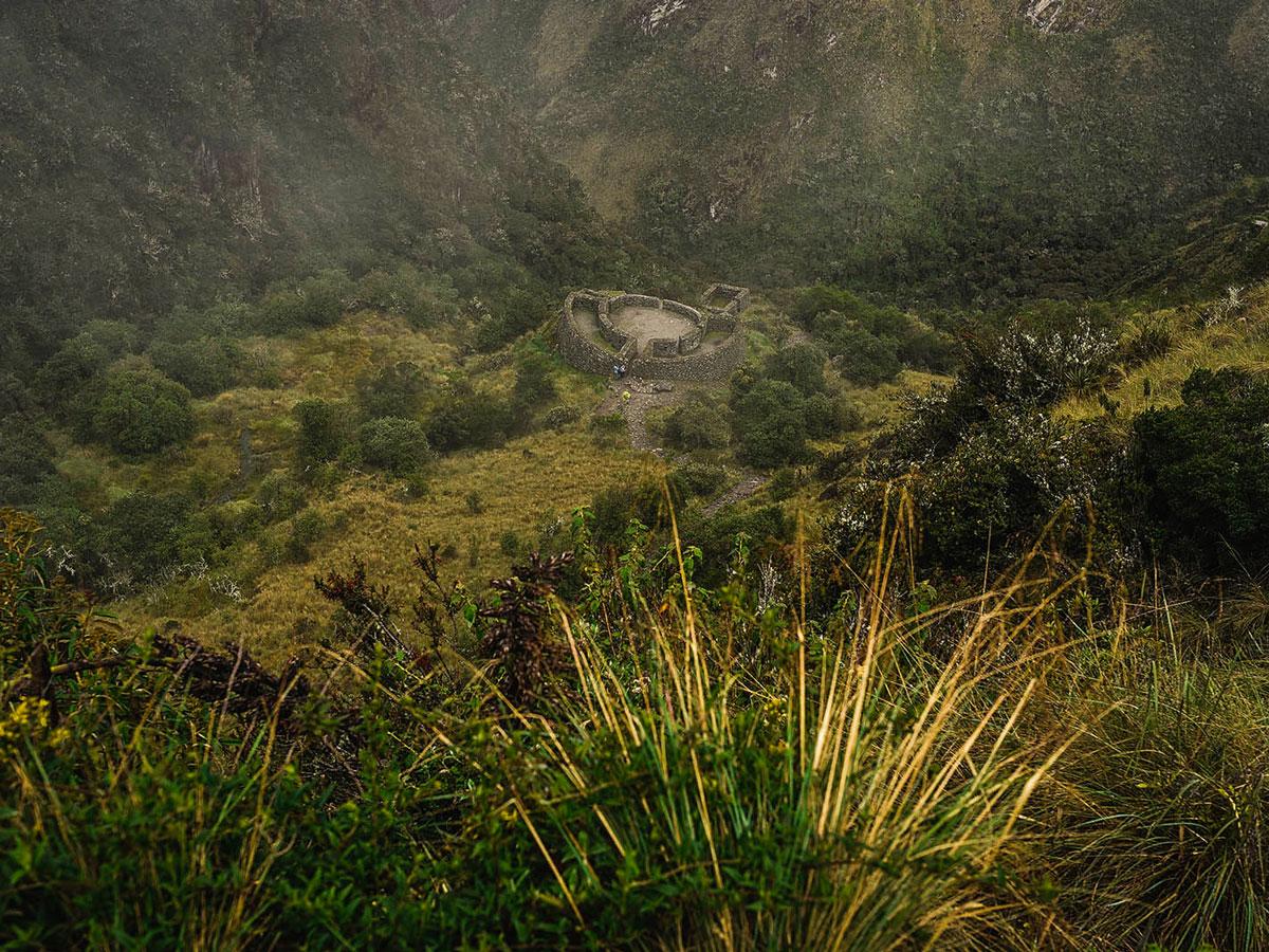 Looking down on Runkurakay Archeological Site on Inca Trail to Machu Picchu near Cusco Peru