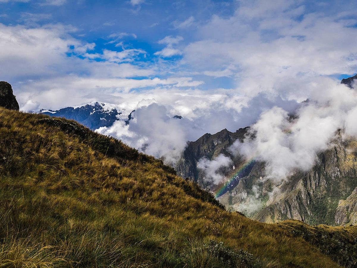 Rainbow along Inca Trail to Machu Picchu near Cusco Peru