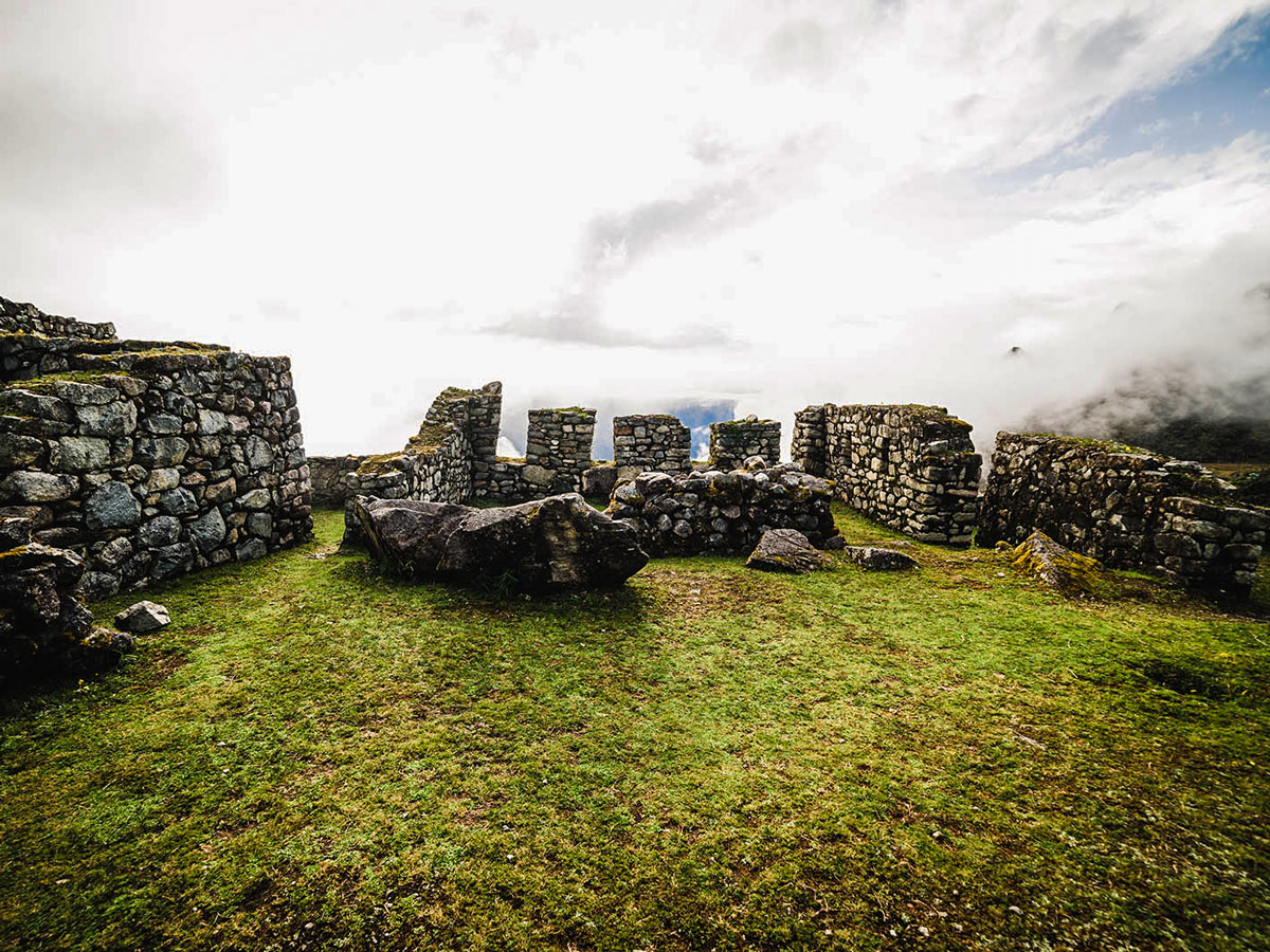 Inca Ruins on Inca Trail to Machu Picchu near Cusco Peru