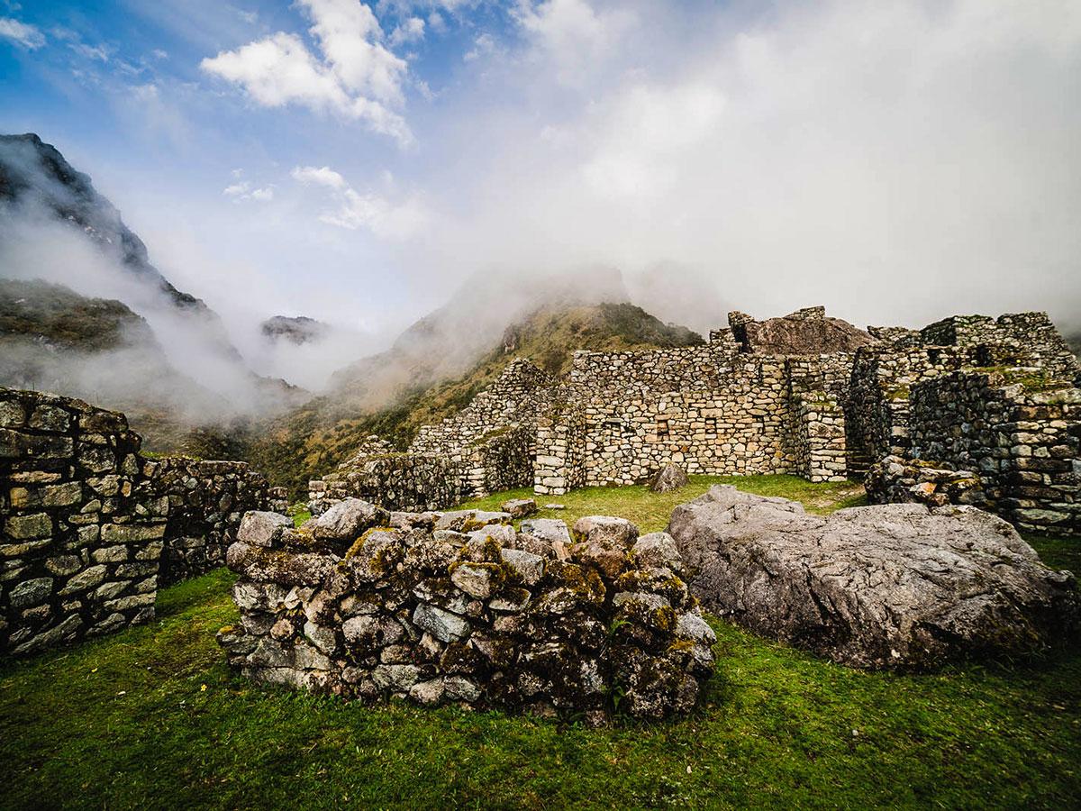 Archeological site along Inca Trail to Machu Picchu near Cusco Peru