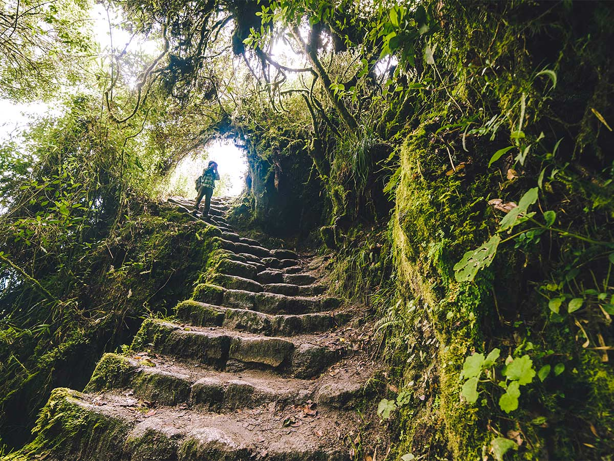 There are lots of stairs on Inca Trail to Machu Picchu near Cusco Peru