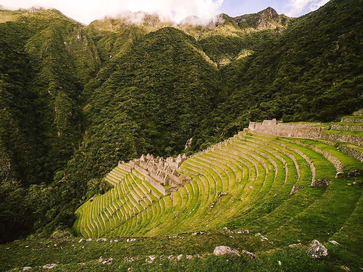 Winay Wayna site on Inca Trail to Machu Picchu near Cusco Peru