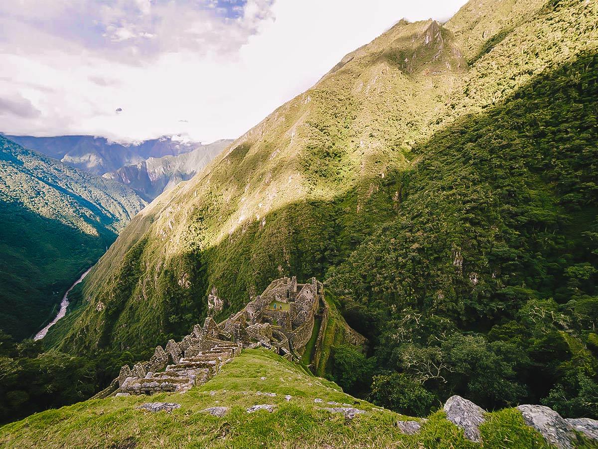 Amazing views on Inca Trail to Machu Picchu near Cusco Peru