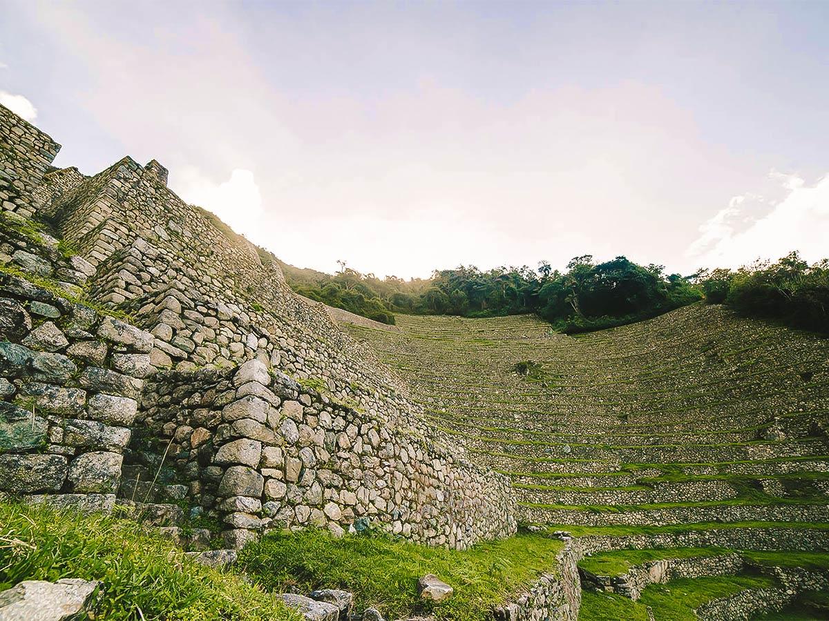 Countless stairs on Inca Trail to Machu Picchu near Cusco Peru