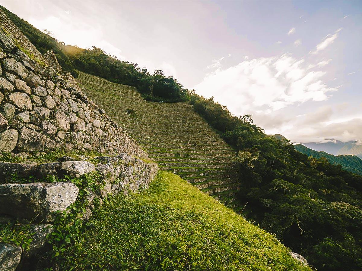 Beautiful archeological site on Inca Trail to Machu Picchu near Cusco Peru