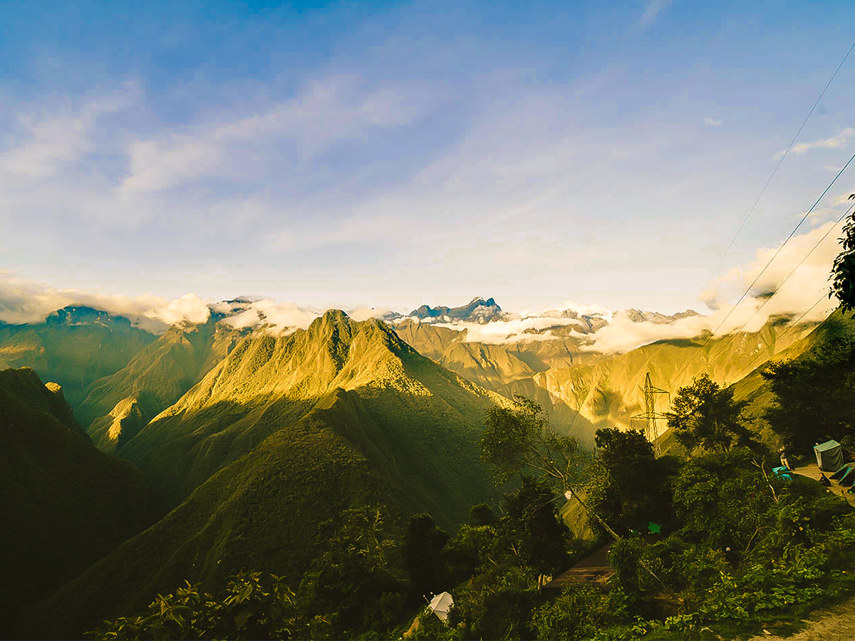 Mountain views on Inca Trail to Machu Picchu near Cusco Peru
