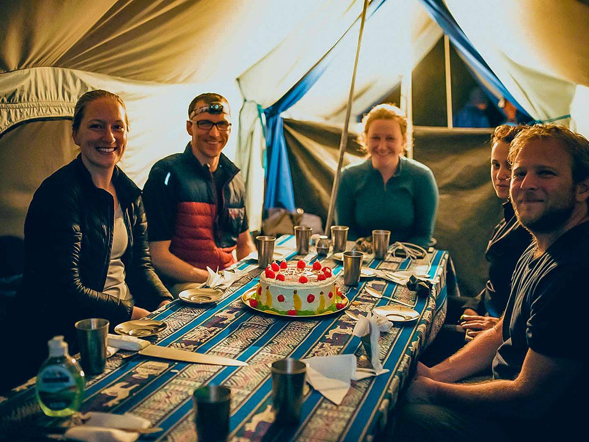 Birthday celebration on Inca Trail to Machu Picchu near Cusco Peru