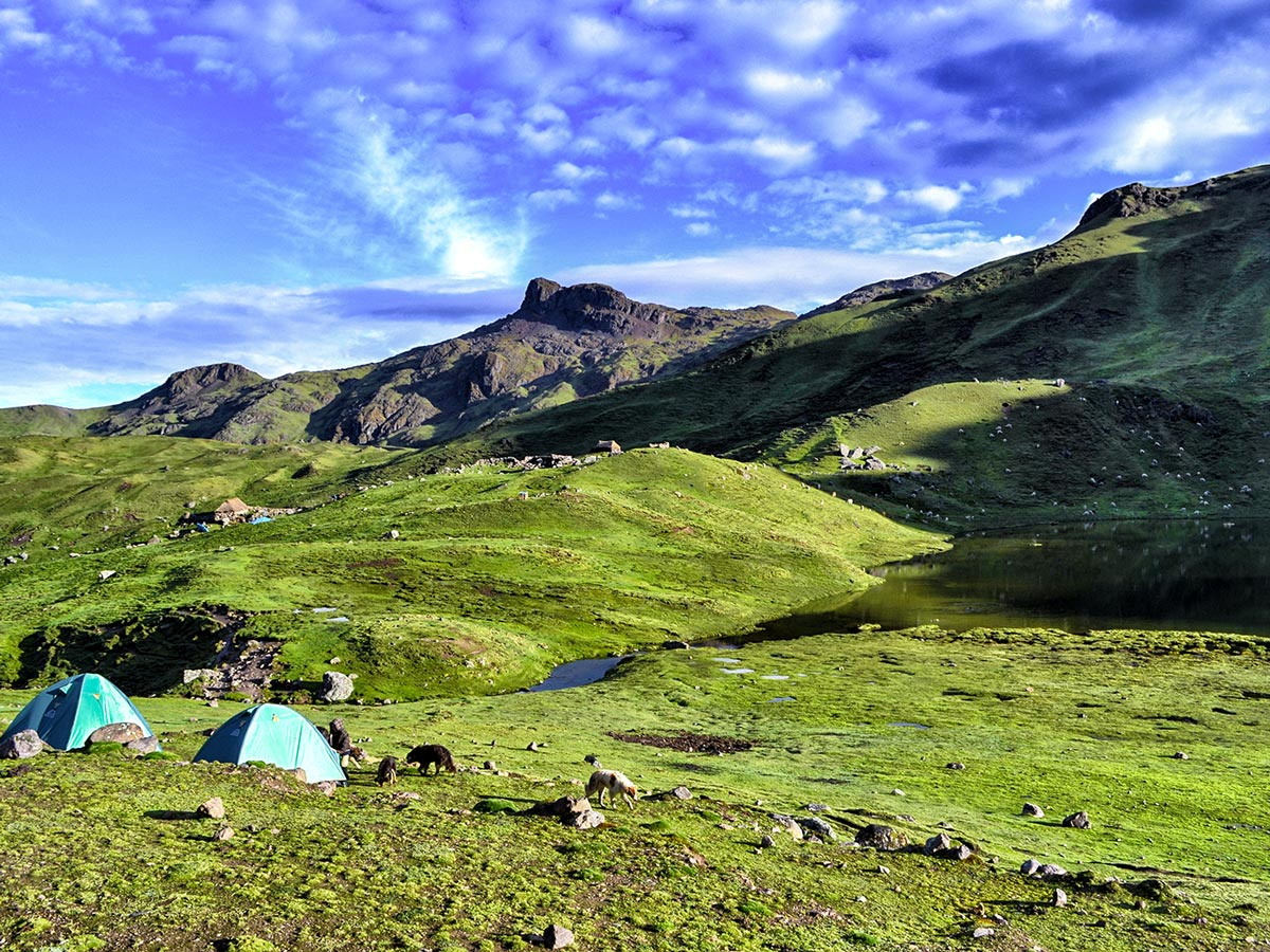 Camping surrounded by nature on Lares Trek to Machu Picchu near Cusco Peru