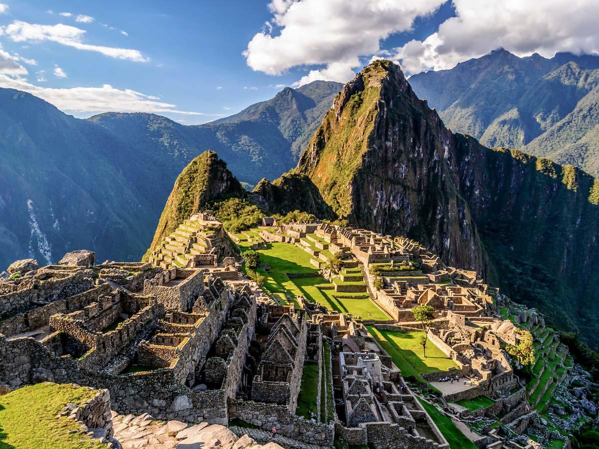 Archeological site of Machu Picchu on Lares Trek to Machu Picchu near Cusco Peru