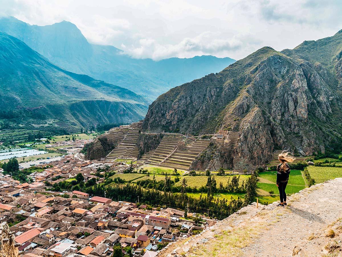 Looking down on village on Lares Trek to Machu Picchu near Cusco Peru