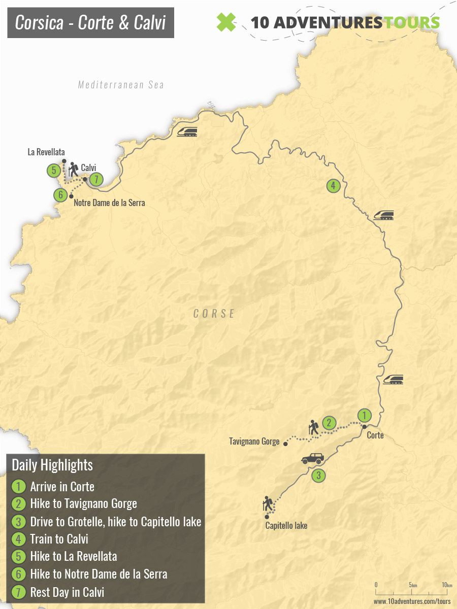 Map of Corsica's Mountains and Sea Walking tour trail in Corsica Island (France)
