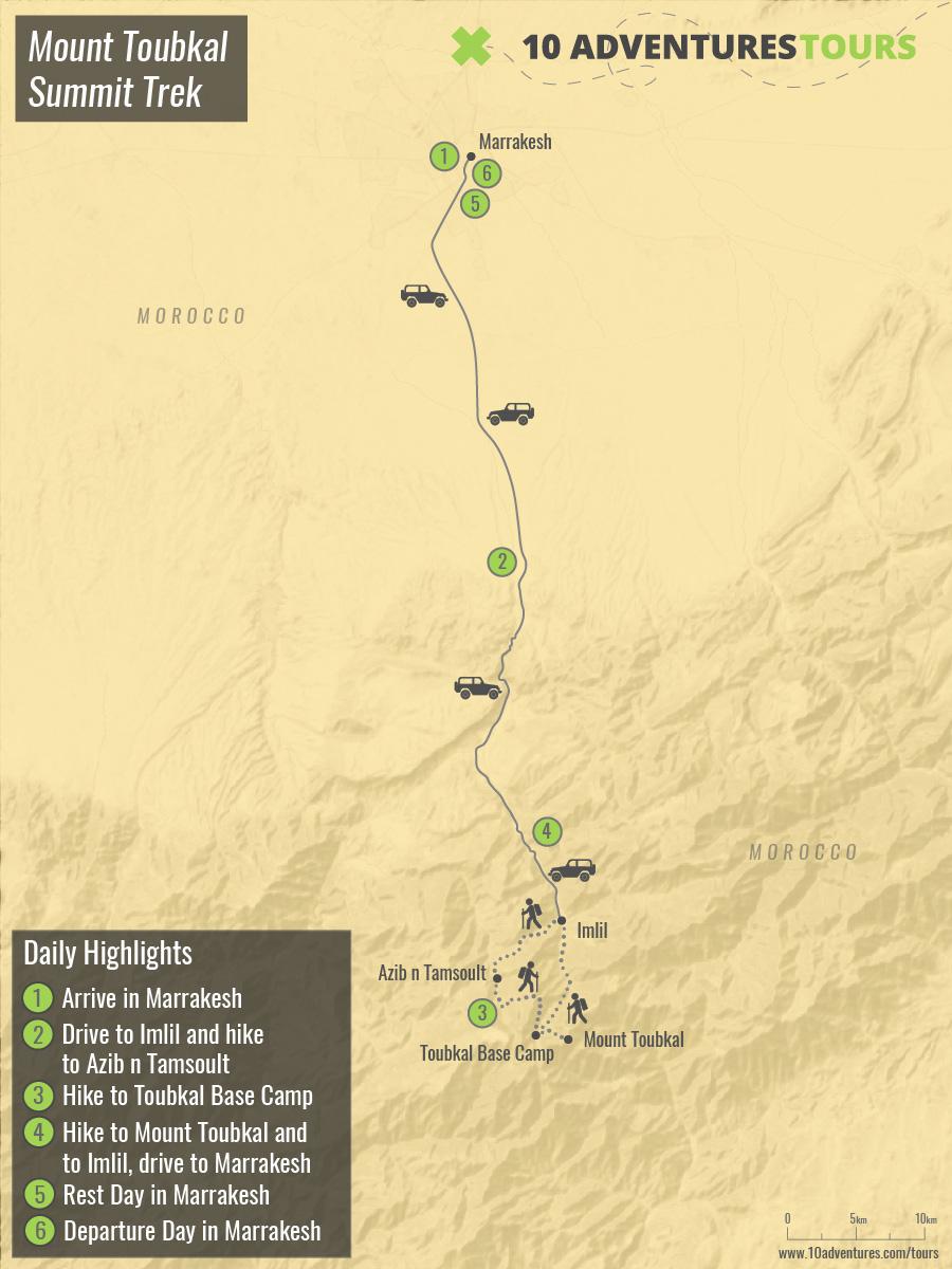 Map of Mount Toubkal Summit Trek in Atlas Mountains, Morocco
