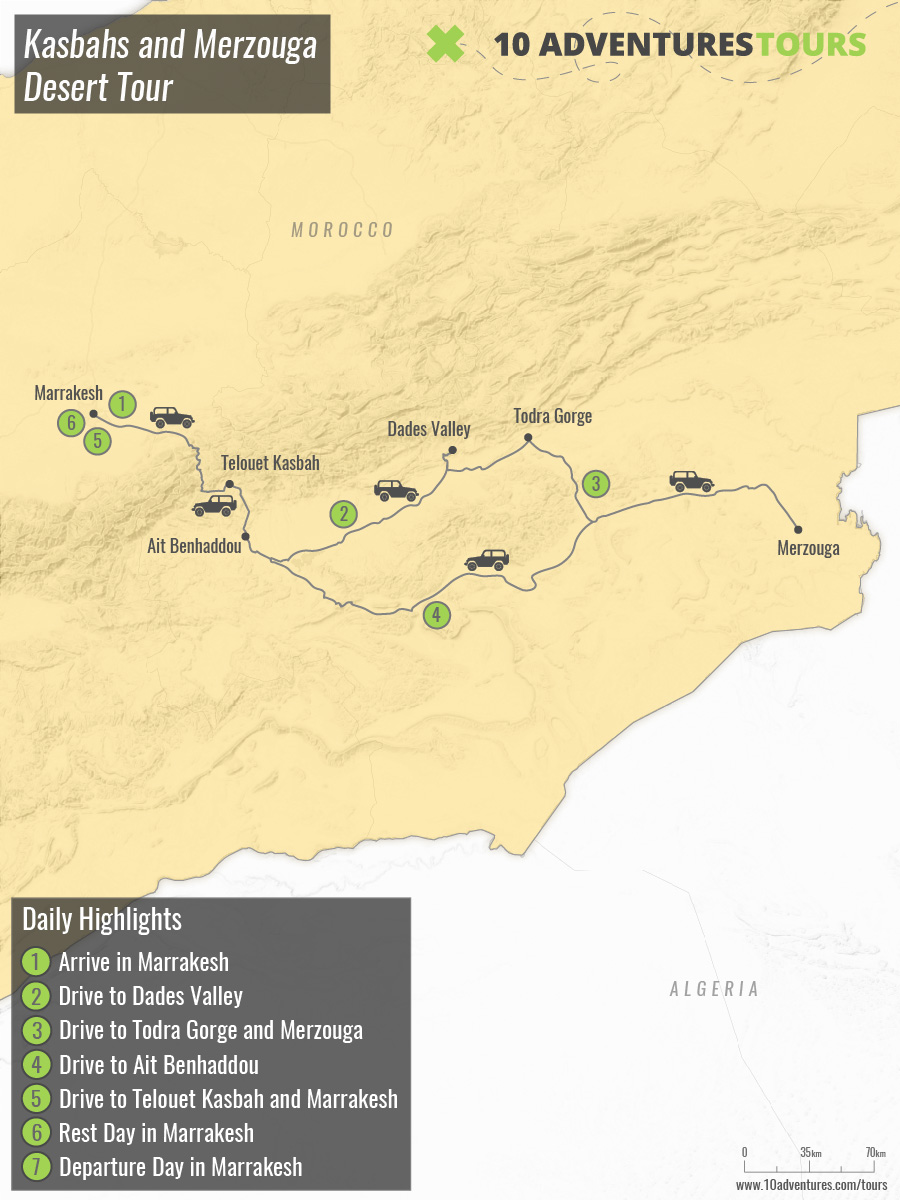 Map of Kasbahs and Merzouga Desert Tour in Morocco with a guide