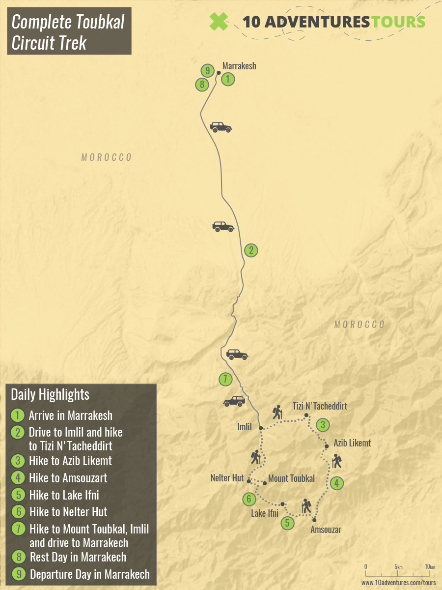 Map of guided Complete Toubkal Circuit Trek in Morocco