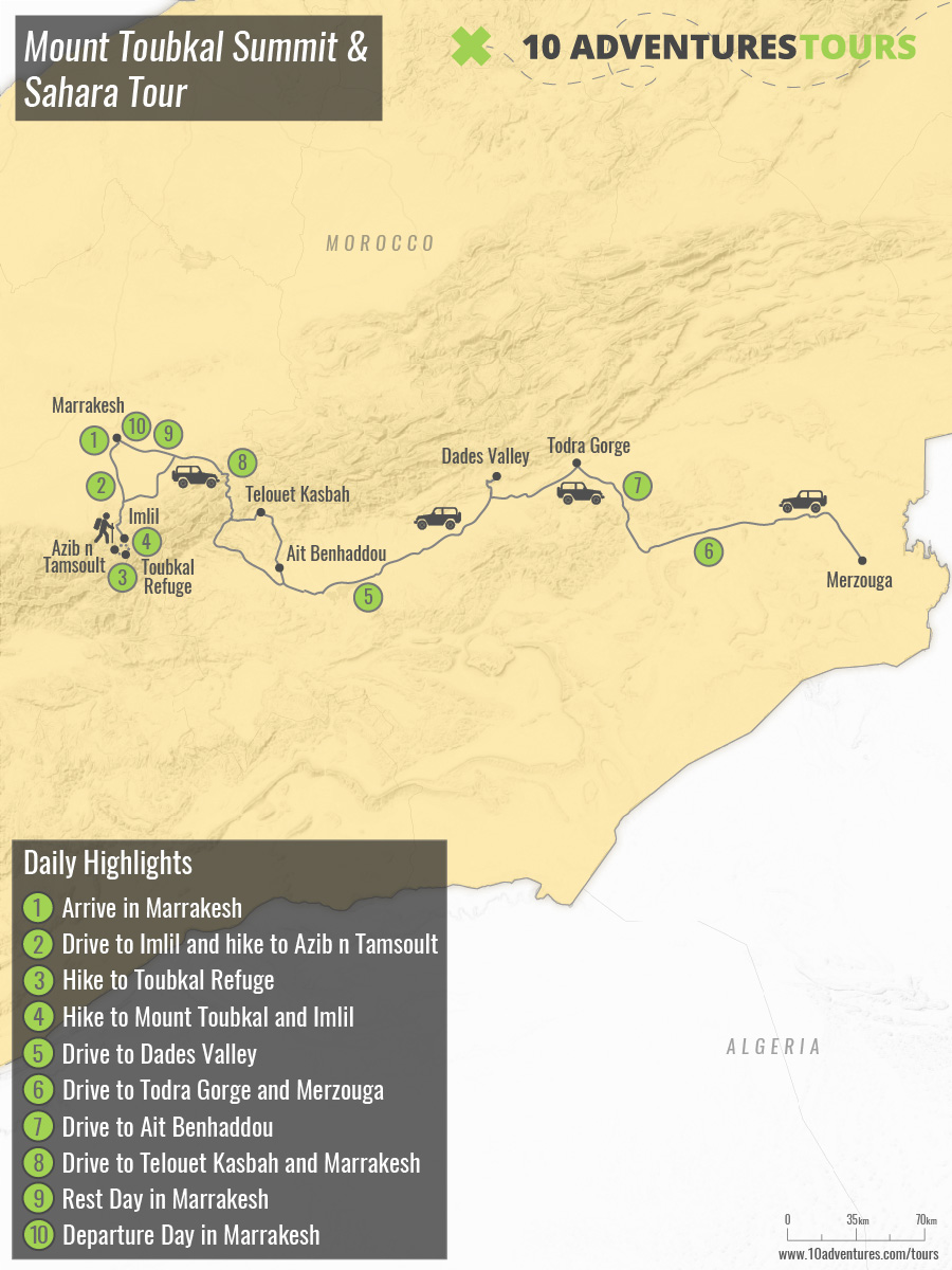 Map of guided Mount Toubkal Summit & Sahara Tour in Morocco