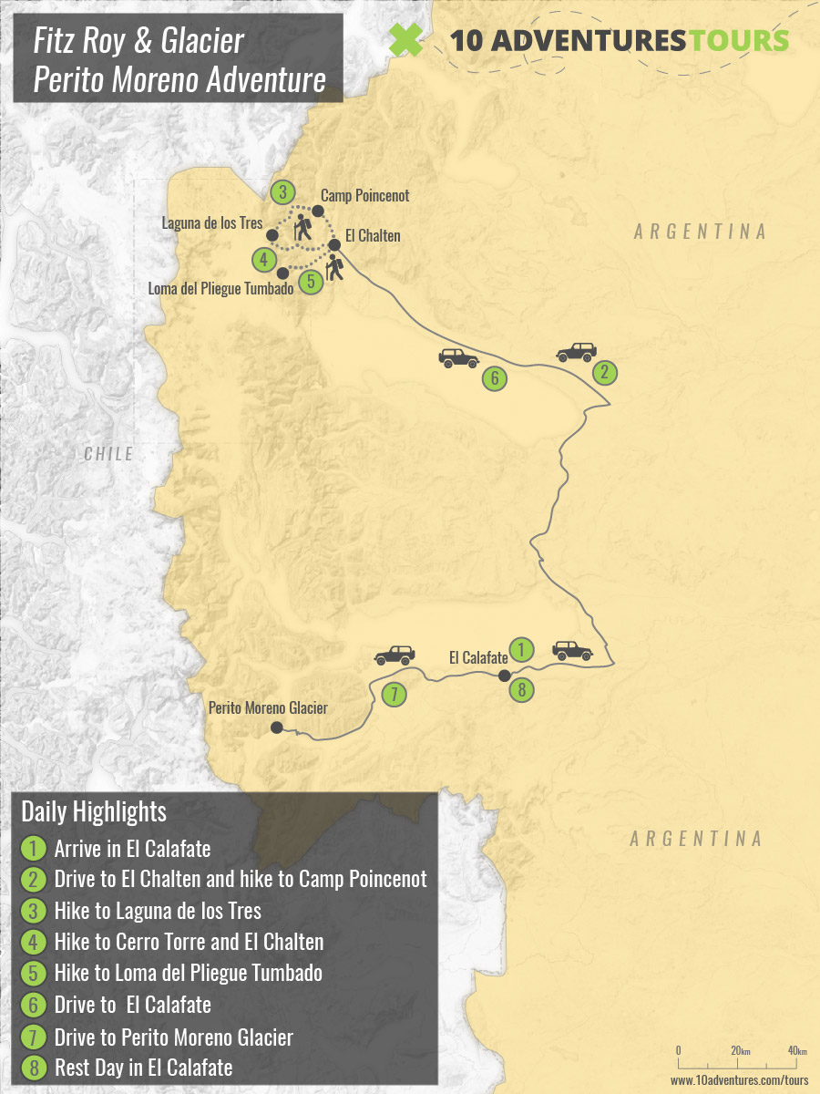 Map of Guided Patagonia Trekking in Argentina