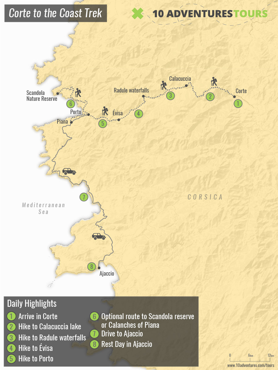 Map of self-guided Corte to the Coast Trek in Corsica, France