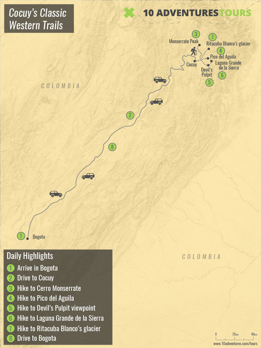Map of guided trekking tour in Cocuy's National Park on the western trails