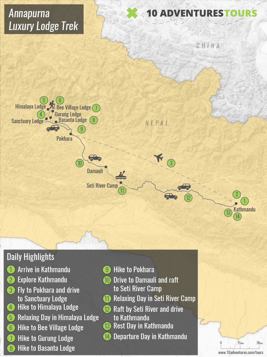 Map of Annapurna Luxury Lodge Trek in Himalayas, Nepal (guided tour)