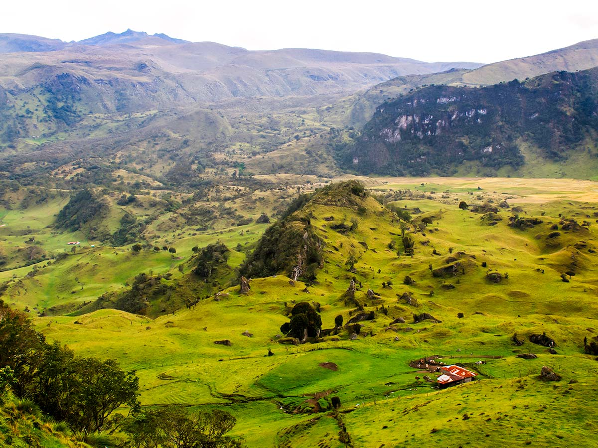 Expansive valleys of Colombian Andes seen on Los Nevados Trek in Colombia