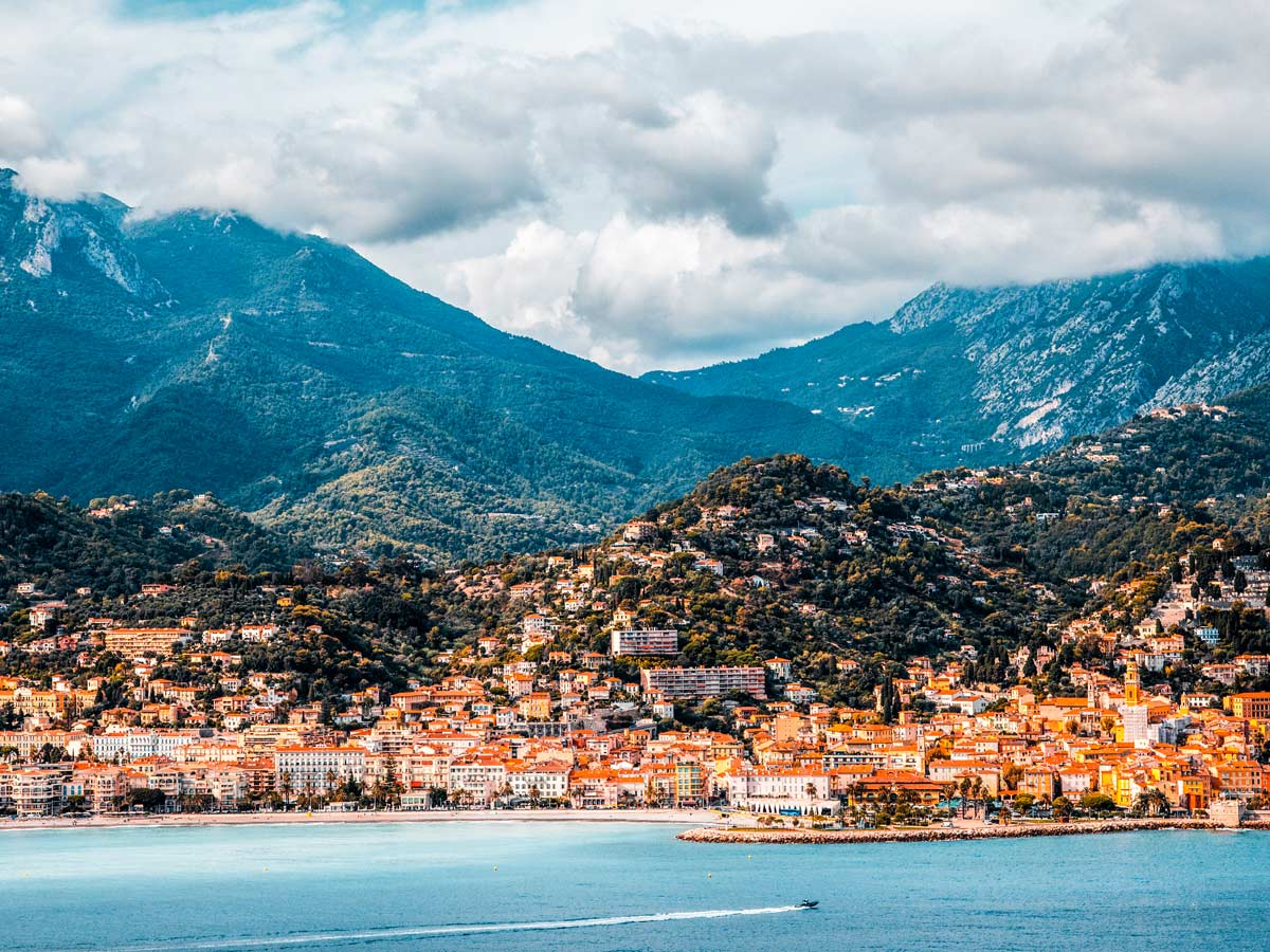 Menton village as seen from Self-guided West Liguria and Cote dAzur trek