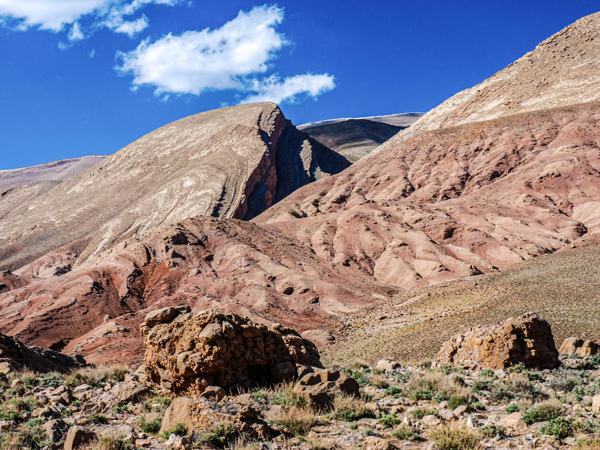 Beautiful mountains surrounding the trail of Atlas and Sahara Trek in Morocco