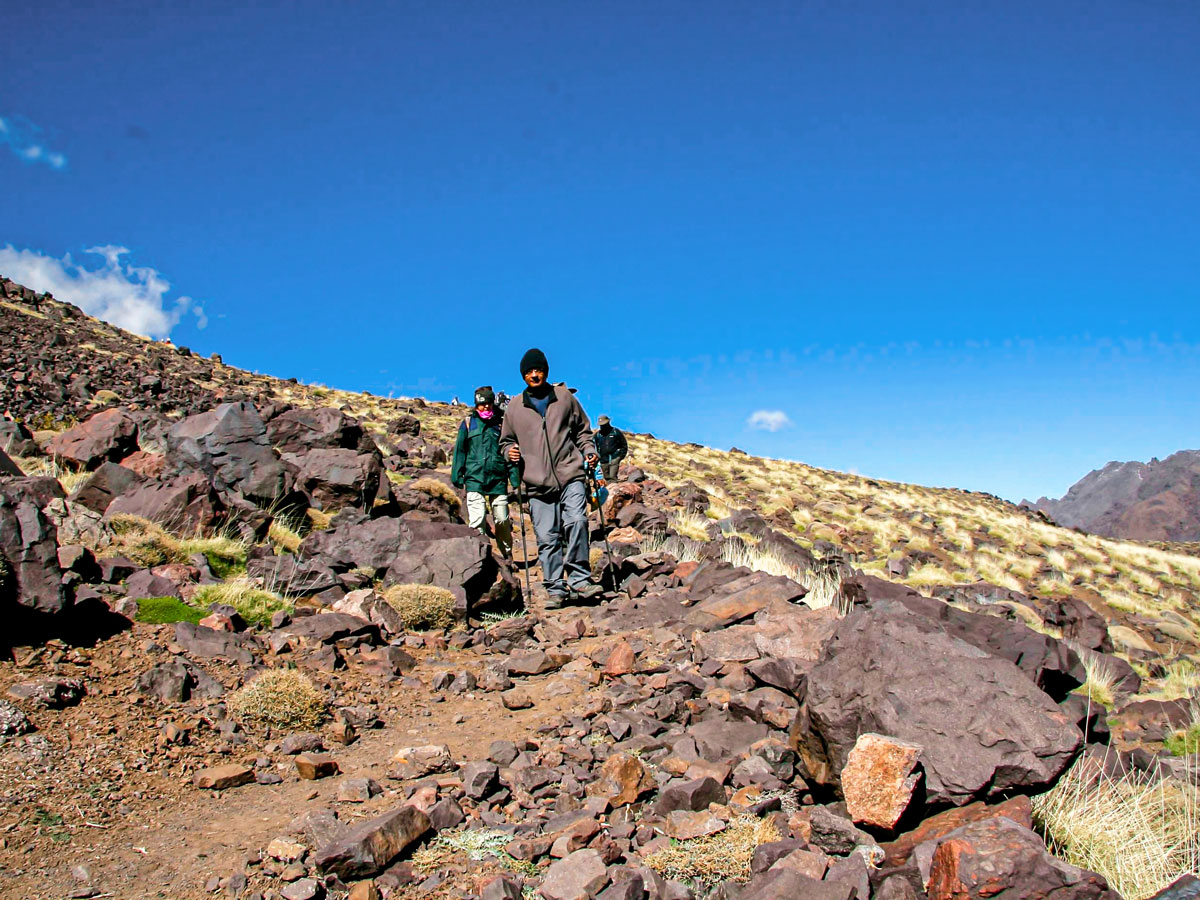 Descending on Mt Toubkal and Desert tour in Morocco from Marrakech