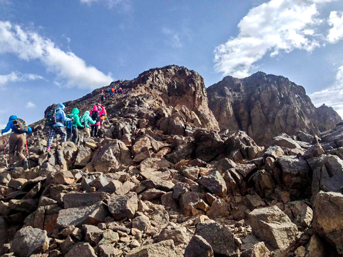 Ascending to the top of Mt Toubkal on Mt Toubkal and Desert tour