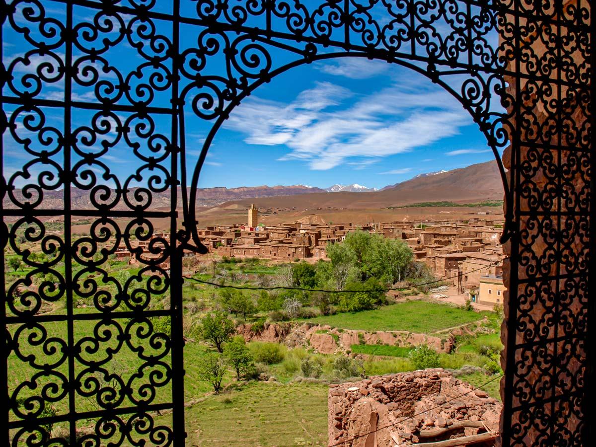 Views through Kasbah window on Mt Toubkal and Desert tour