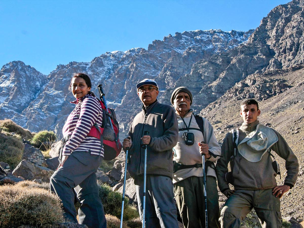 Trekkers posing on Villages Valleys and Mt Toubkal Climb tour from Marrakech