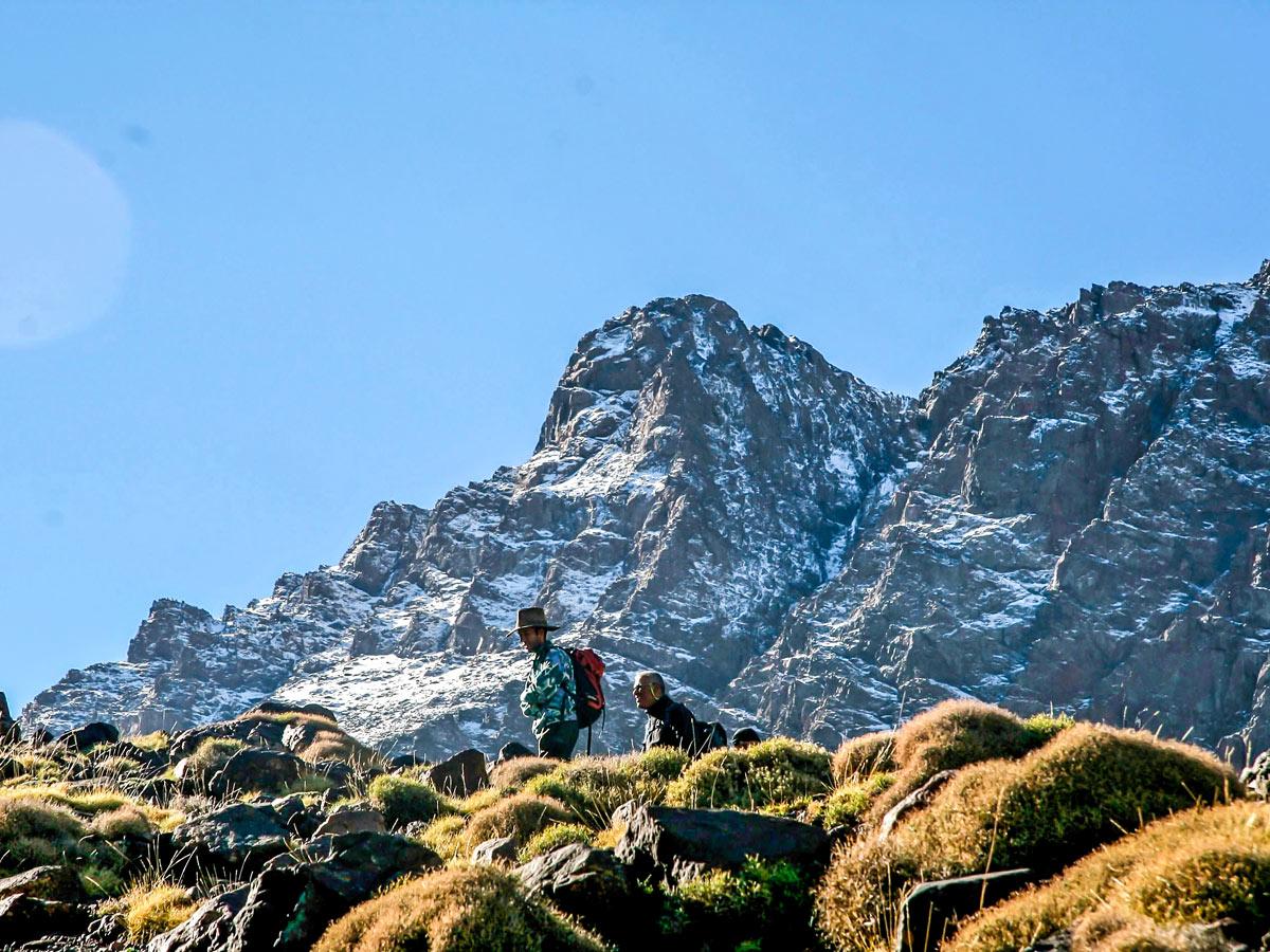 Surrounded by white peaks on Villages Valleys and Mt Toubkal Climb tour in Morocco