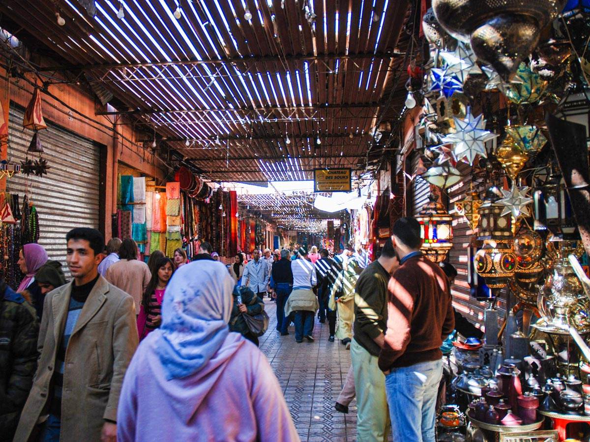 Busy streets of Marrakech on Villages Valleys and Mt Toubkal Climb tour