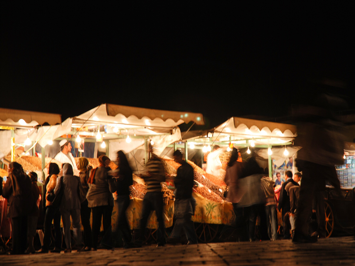 Night market in Marrakech on Villages Valleys and Mt Toubkal Climb trek