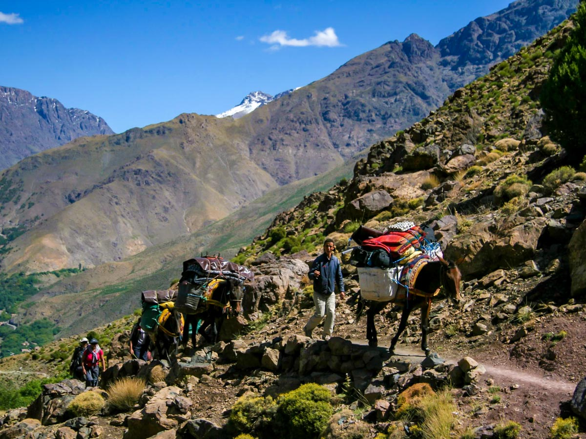 Beautiful valley views on Mt Toubkal Trek in Atlas Mountains Morocco