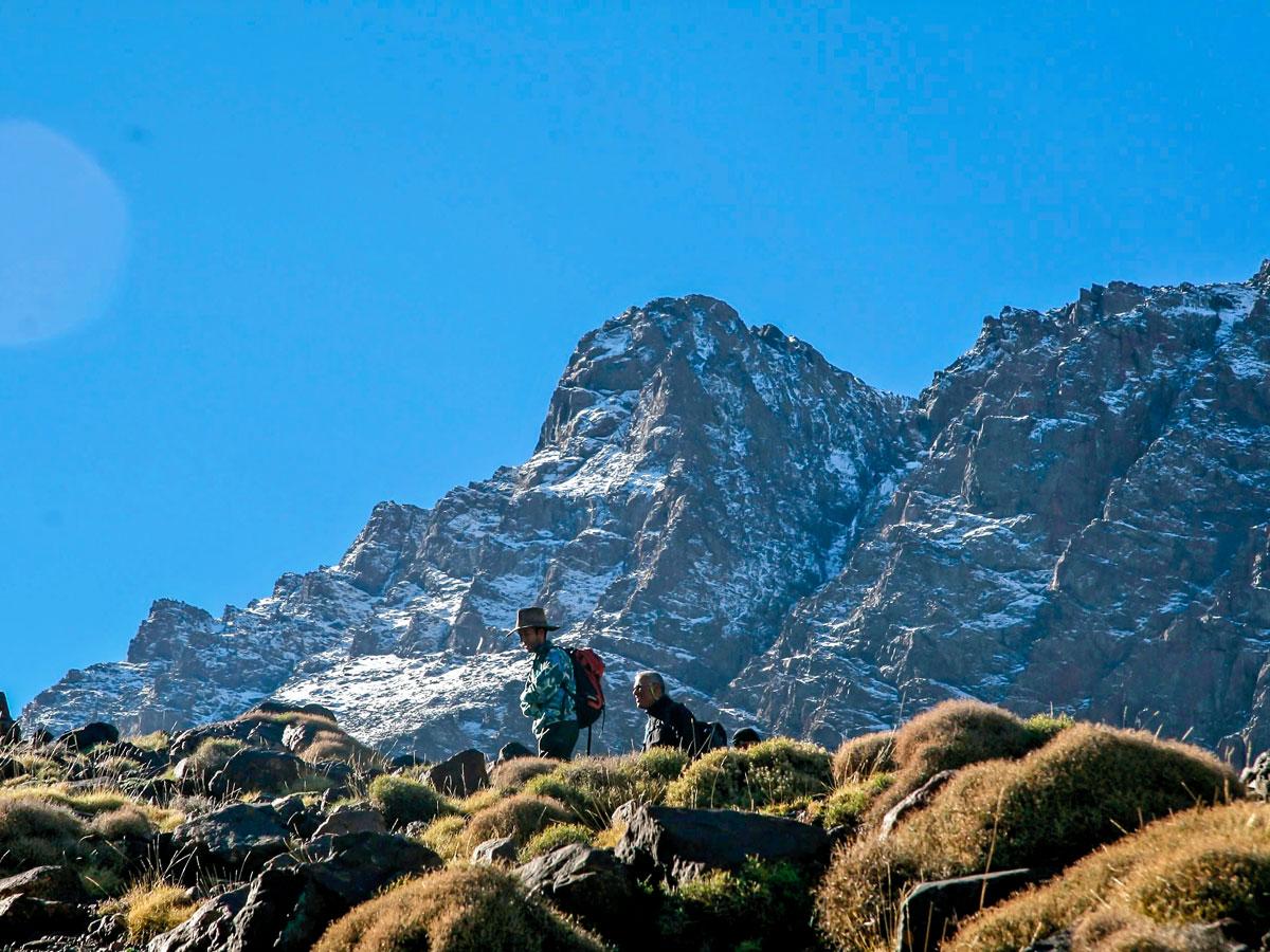 Toubkal Trek in Atlas Mountains is surrounded by beautiful peaks