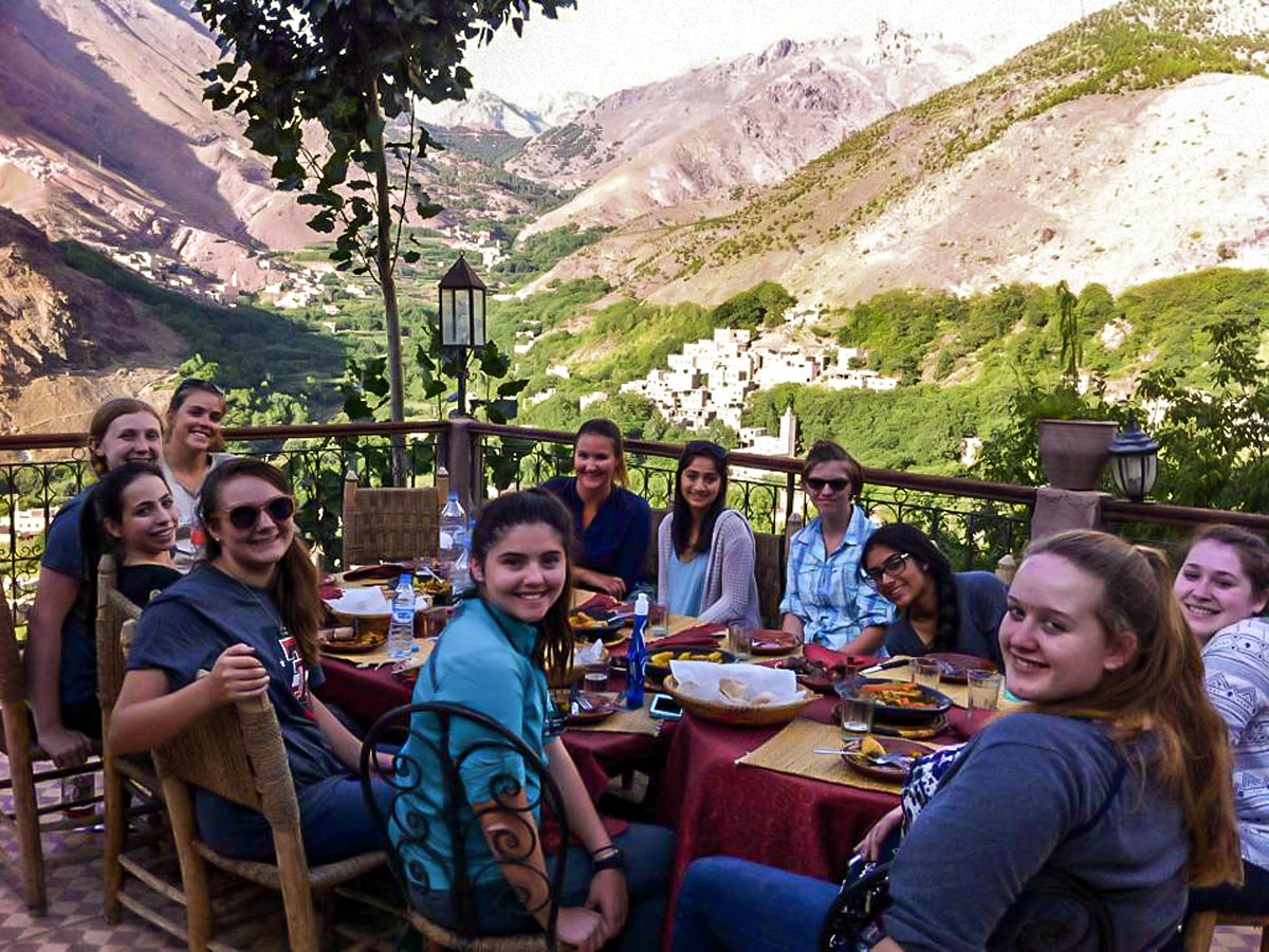 Lunch time on Mt Toubkal Trek in Atlas Mountains Morocco