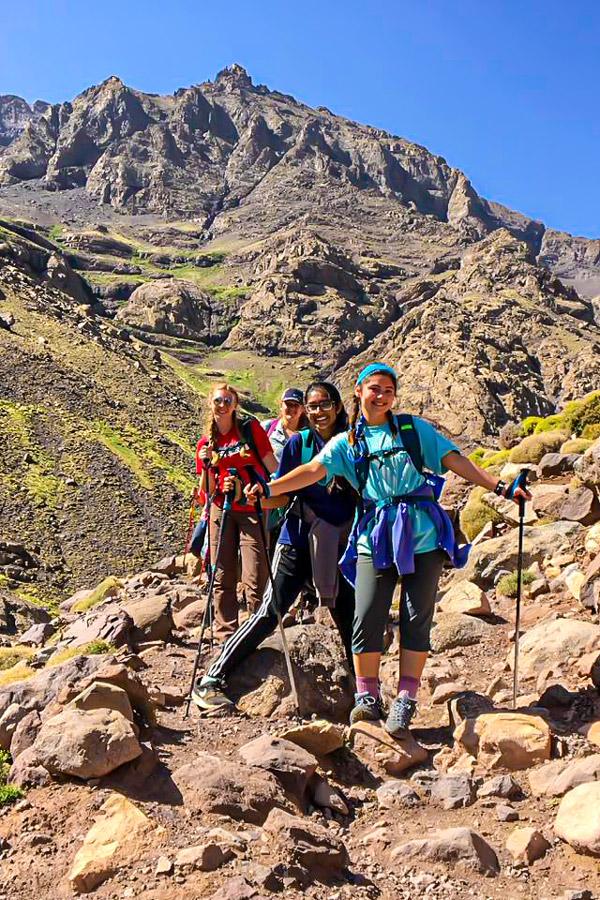 Rocky trail of Mt Toubkal Trek in Atlas Mountains Morocco