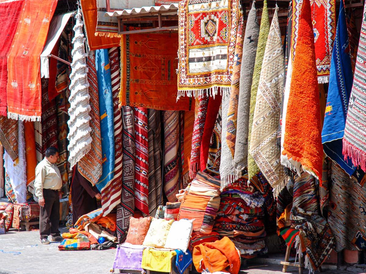 Colourful market in Marrakech on Mt Toubkal Trek in Atlas Mountains Morocco