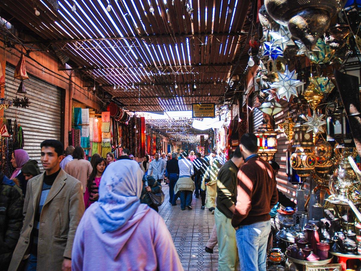 Busy streets of Marrakech on Mt Toubkal Trek in Atlas Mountains Morocco