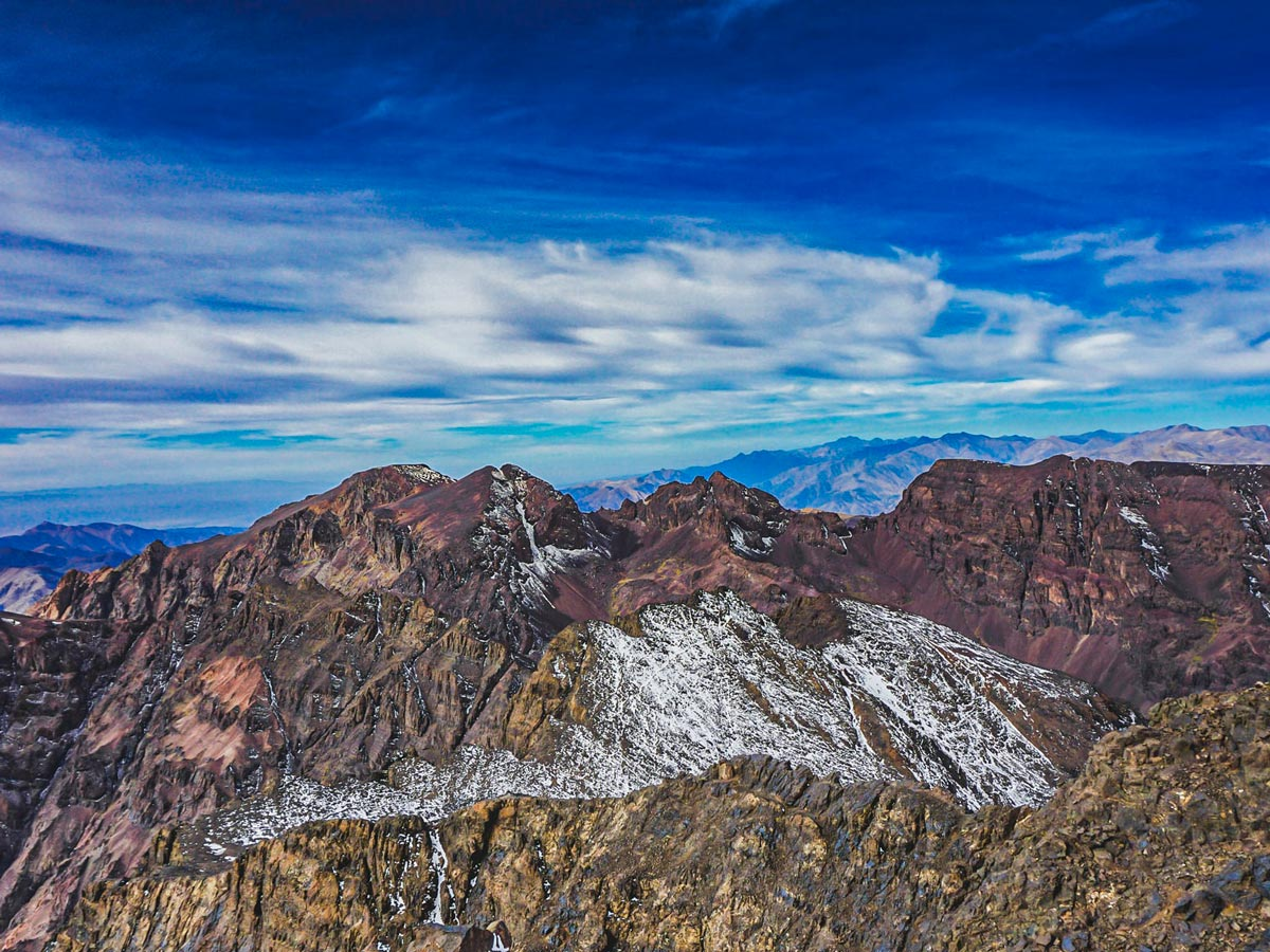 Mt Toubkal as seen from another peak on Mt Toubkal Trek in Atlas Mountains Morocco