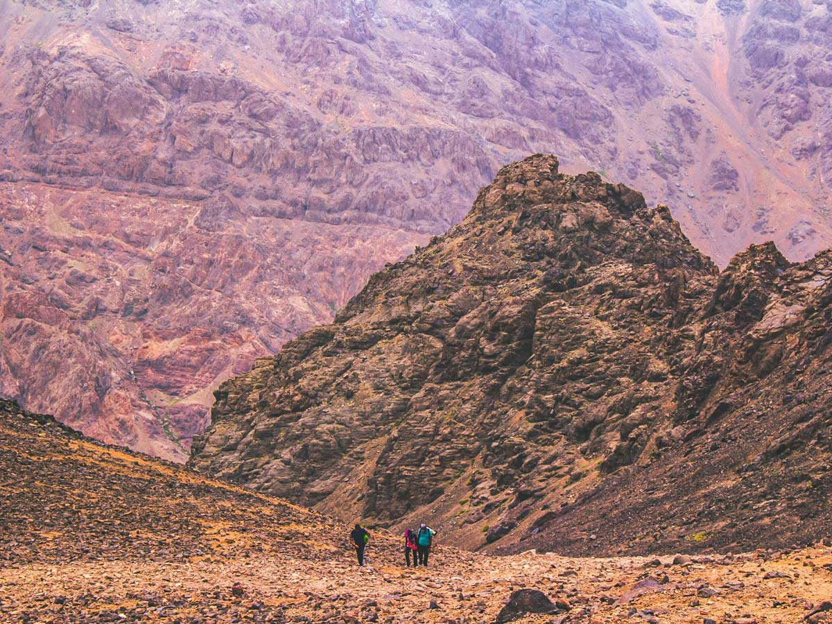 Beautiful valleys and Mt Toubkal on Mt Toubkal Trek in Atlas Mountains Morocco
