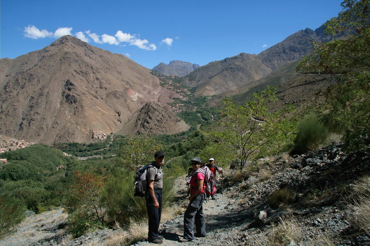 Beautiful views of the Atlas Valley on guided trekking tour to Atlas Valley from Marrakech Morocco