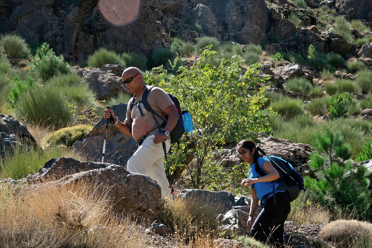 Hikers on guided trekking tour to Atlas Valley from Marrakech Morocco