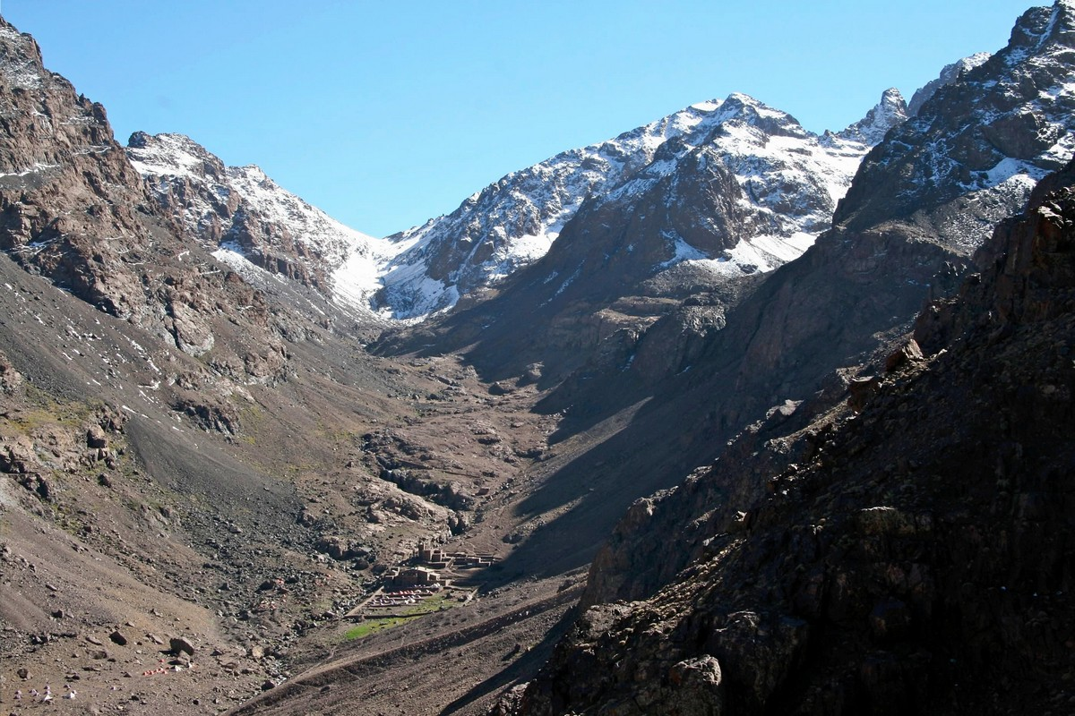 Amazing valley views in Atlas Mountains on guided trekking tour to Atlas Valley from Marrakech Morocco